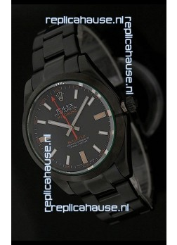 Rolex White Milgauss Black-Out Swiss Replica Watch in Orange Markers