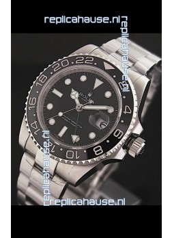 Rolex GMT Master II Swiss Replica Steel Watch in Black Dial