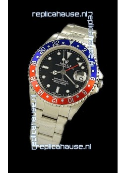 Rolex GMT Master II Swiss Replica Steel Watch in Red and Blue Bezel