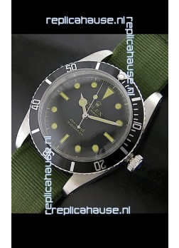 Rolex Submariner Swiss Replica Watch in Domed Crystal Green Nylon Strap