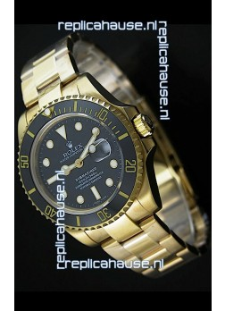 Rolex Submariner Japanese Gold Watch in Black Dial with Ceramic Bezel