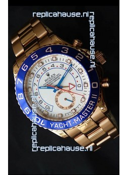 Rolex Replica Yachtmaster II Swiss Watch Rose Gold - 1:1 Mirror Replica Watch