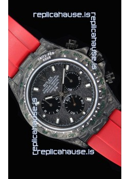 Rolex Daytona DiW Forged Cabon Casing 1:1 Mirror Replica with Red Strap