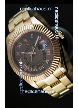 Rolex Sky-Dweller 18K Yellow Gold Watch in Brown Dial Roman Numerals