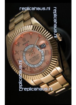 Rolex Sky-Dweller 18K Rose Gold Watch in Salmon Dial Roman Numerals