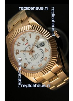Rolex Sky-Dweller 18K Rose Gold Watch in White Dial Arabic Numerals
