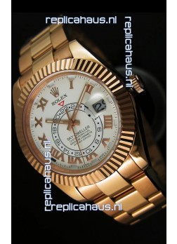 Rolex Sky-Dweller 18K Rose Gold Watch in White Dial Roman Numerals