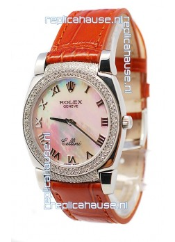 Rolex Cellini Cestello Ladies Swiss Watch White Pearl Roman Face Diamonds Bezel and Lugs