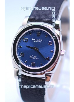 Rolex Cellini Cestello Ladies Swiss Watch in Blue Silver Face