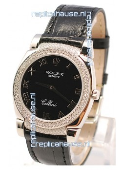 Rolex Cellini Cestello Ladies Swiss Watch in Black Face Roman Markers