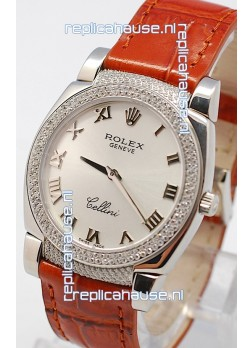 Rolex Cellini Cestello Ladies Swiss Watch in Silver Face Diamonds Bezel and Lugs
